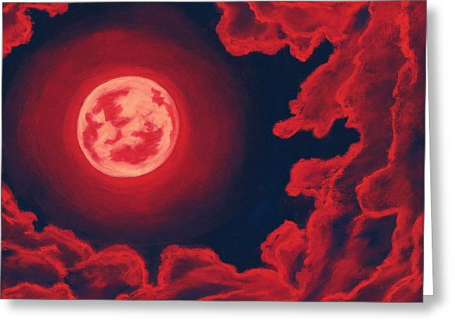 Blood Moon - Sky And Clouds Collection Greeting Card by Anastasiya Malakhova