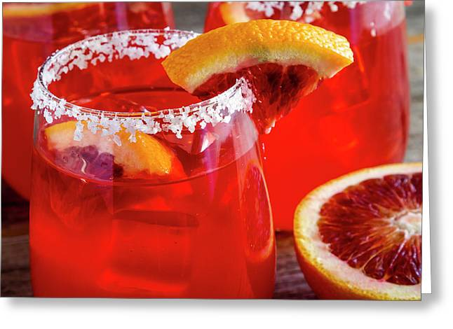 Greeting Card featuring the photograph Blood Orange Margaritas On The Rocks by Teri Virbickis