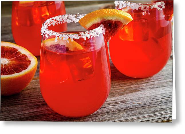 Greeting Card featuring the photograph Blood Orange Margaritas by Teri Virbickis