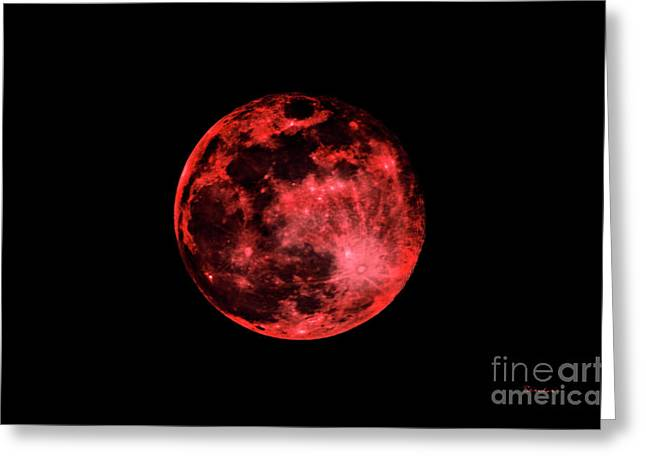 Blood Red Moonscape 3644b Greeting Card