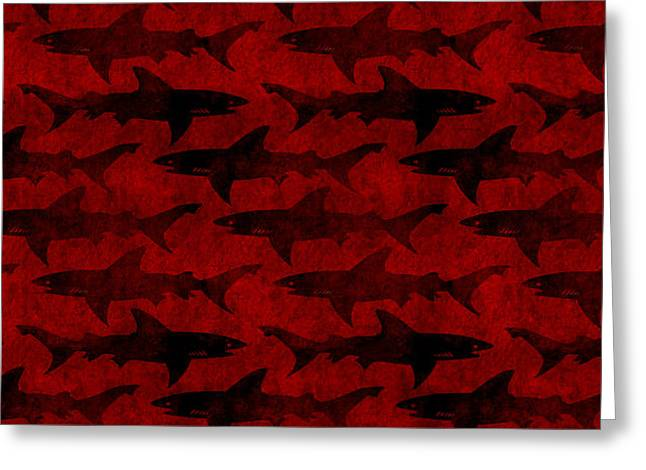 Blood Red Sharks Greeting Card by Antique Images