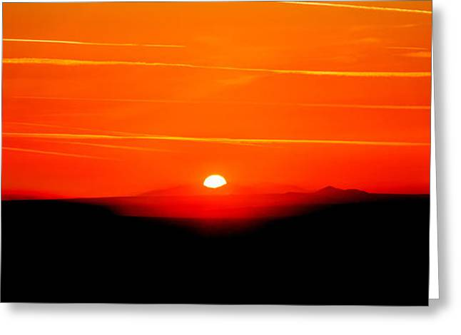 Blood Red Sunset Greeting Card by Az Jackson