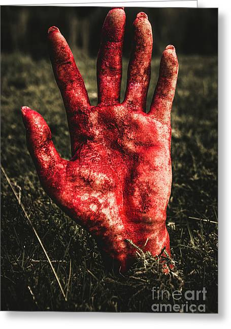 Blood Stained Hand Coming Out Of The Ground At Night Greeting Card by Jorgo Photography - Wall Art Gallery