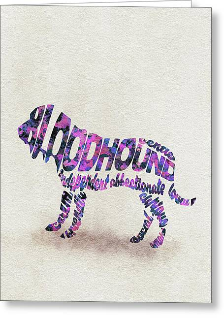 Greeting Card featuring the painting Bloodhound Dog Watercolor Painting / Typographic Art by Ayse and Deniz