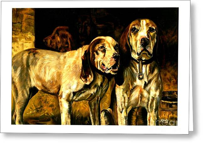 Greeting Card featuring the painting Bloodhounds Lou Ellen Chattin 1914 by Peter Gumaer Ogden