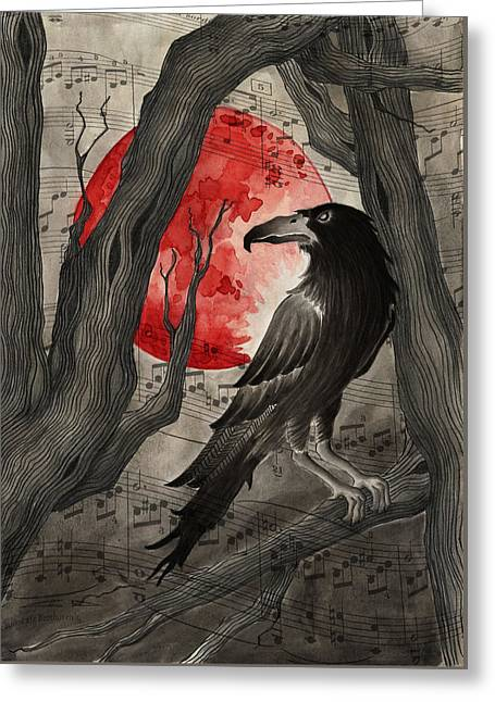 Bloodmoon The Raven Greeting Card