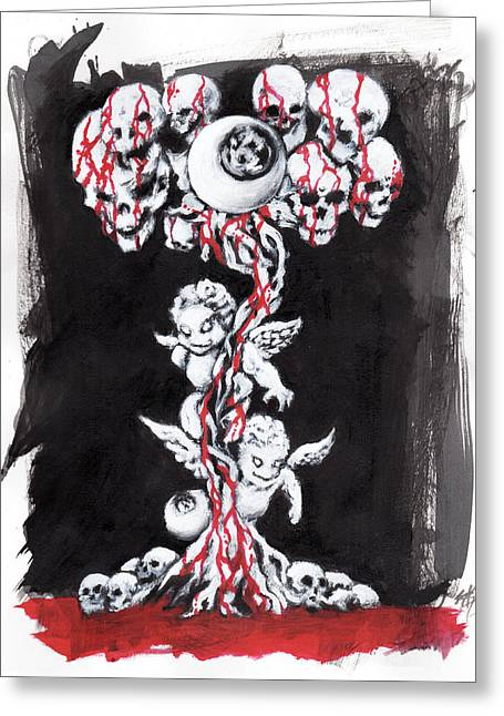 Bloody Angels Greeting Card by Miguel Karlo Dominado