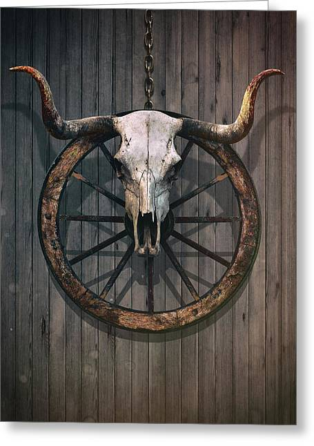 Bloody Bull Skull Greeting Card