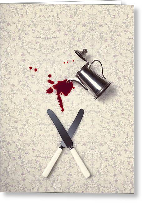 Table-cloth Greeting Cards - Bloody Dining Table Greeting Card by Joana Kruse
