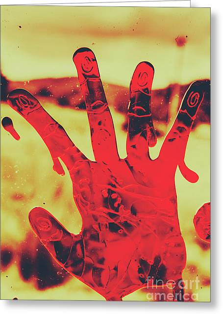 Bloody Halloween Palm Print Greeting Card by Jorgo Photography - Wall Art Gallery