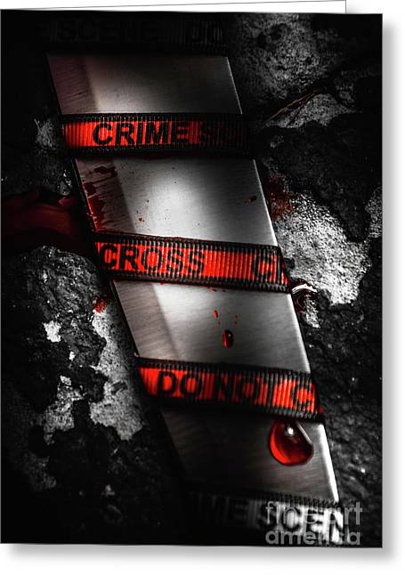 Bloody Knife Wrapped In Red Crime Scene Ribbon Greeting Card