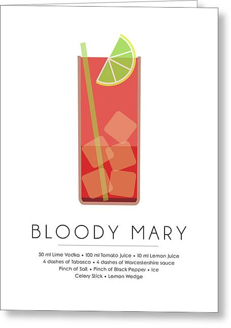 Bloody Mary Classic Cocktail - Minimalist Print Greeting Card