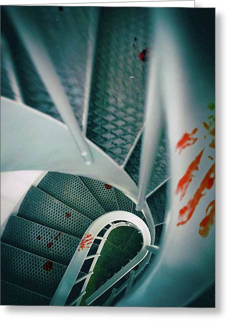 Bloody Stairway Greeting Card by Carlos Caetano