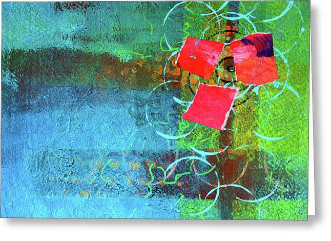 Greeting Card featuring the mixed media Bloom Abstract Collage by Nancy Merkle
