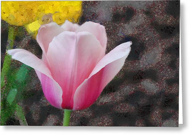 Greeting Card featuring the mixed media Bloomin' by Trish Tritz
