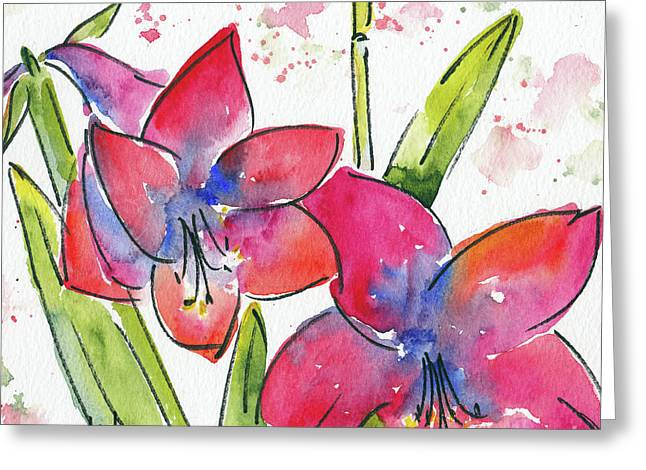 Greeting Card featuring the painting Blooming Amaryllis by Pat Katz