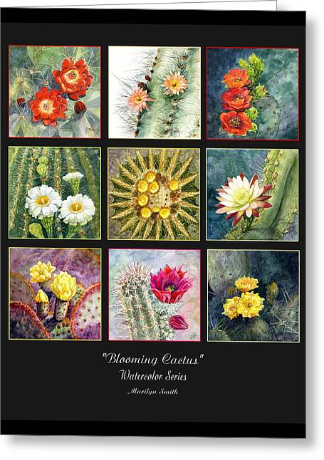 Greeting Card featuring the painting Blooming Cactus by Marilyn Smith