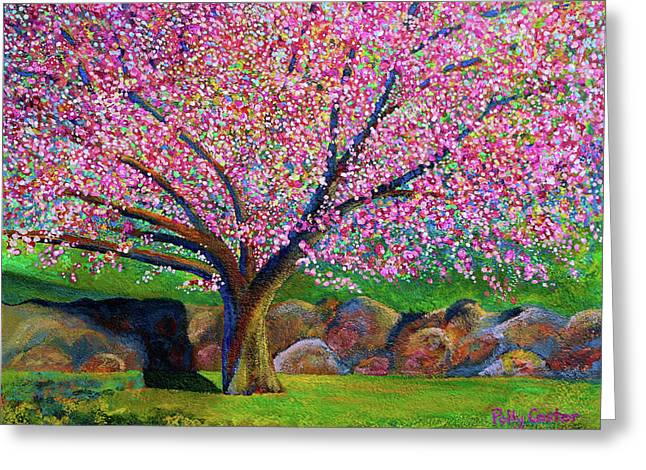Blooming Crabapple In Evening Light Greeting Card