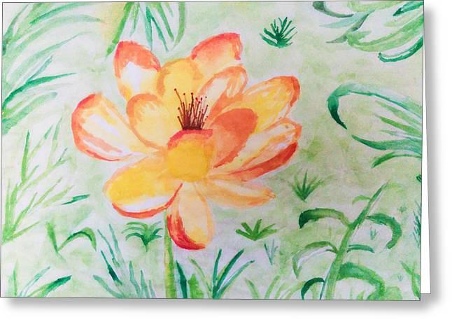 Blooming Flower Greeting Card by Nura Abuosba
