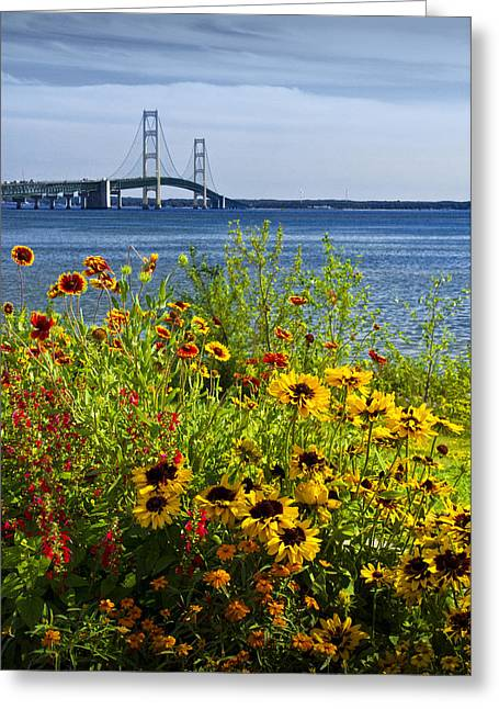 Blooming Flowers By The Bridge At The Straits Of Mackinac Greeting Card