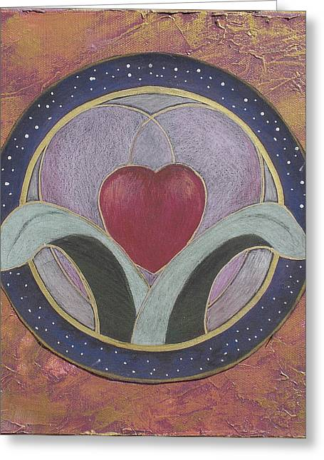 Blooming Heart Mandala Greeting Card by Jo Thompson