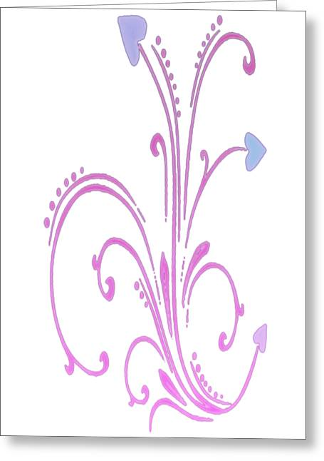 Blooming Pastel Hearts On A Vine Greeting Card