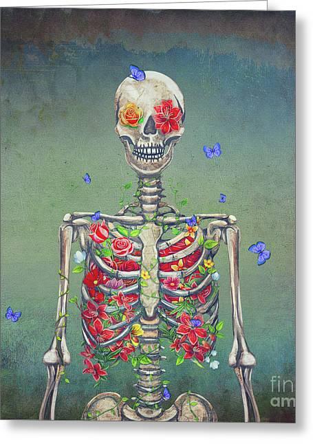 Blooming Skeleton  Greeting Card