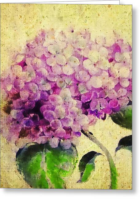 Blooming With Happiness - Hydrangea Greeting Card by Stacey Chiew