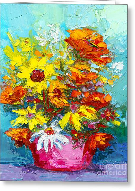 Greeting Card featuring the painting Colorful Wildflowers, Abstract Floral Art  by Patricia Awapara