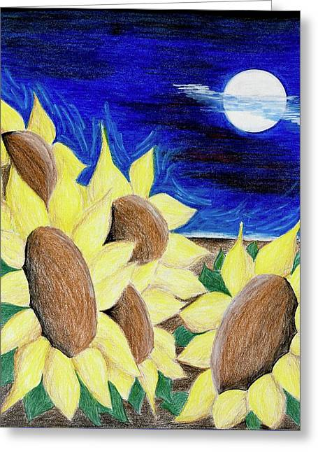 Blooms Under The Moon Greeting Card