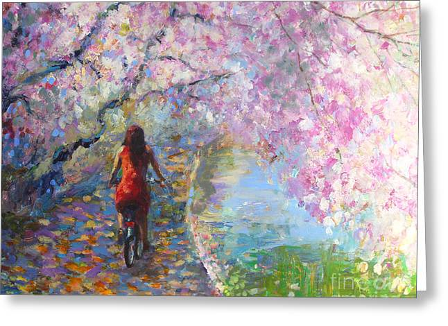 Pink Blossoms Greeting Cards - Blossom Alley Impressionistic painting Greeting Card by Svetlana Novikova