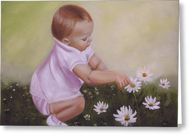 Greeting Card featuring the painting Blossom Among The Flowers by Joni McPherson