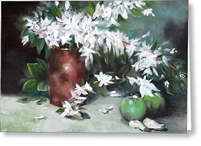 Blossom And Apples Greeting Card