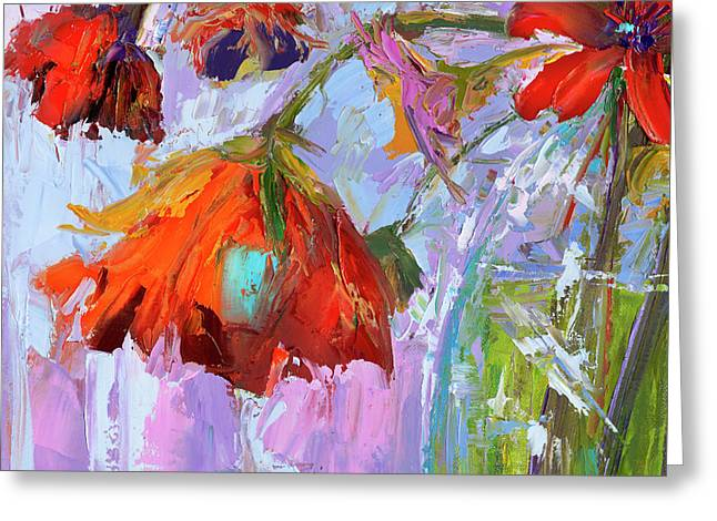 Greeting Card featuring the painting Blossom Dreams In A Vase Oil Painting, Floral Still Life by Patricia Awapara