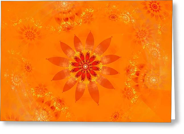 Greeting Card featuring the digital art Blossom In Orange by Richard Ortolano