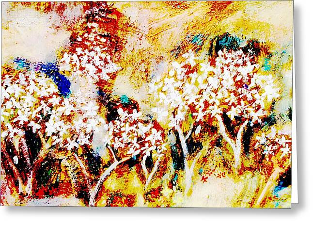 Greeting Card featuring the painting Blossom Morning by Winsome Gunning