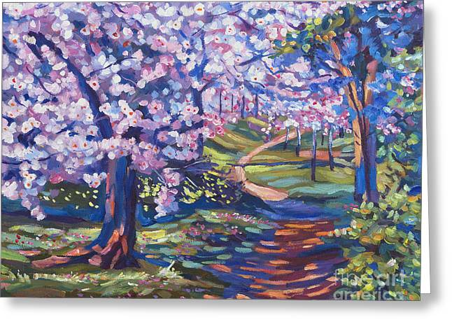 Blossom Season - Plein Air Greeting Card by David Lloyd Glover