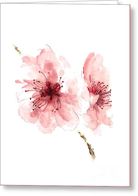 Cherry Blossom, Blossom Wall Art, Buy Art Online, Flower Blossom Watercolor Art Print Greeting Card