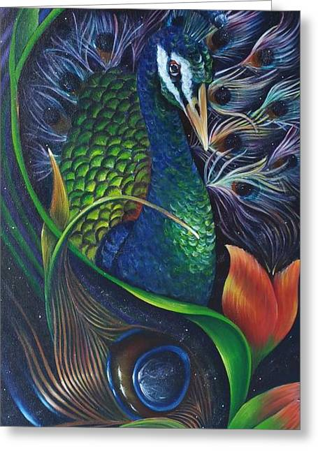 Blossoming Peacock Greeting Card by Jessica Venzor