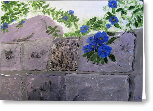 Greeting Card featuring the painting Blossoms Along The Wall by Linda Feinberg