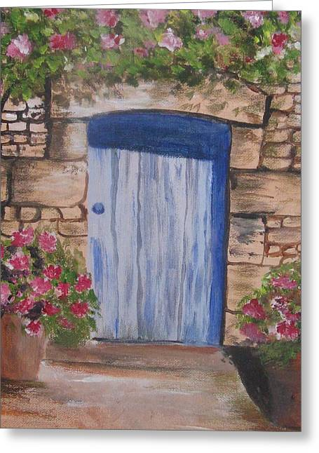 Greeting Card featuring the painting Blossoms By The Door by Trilby Cole