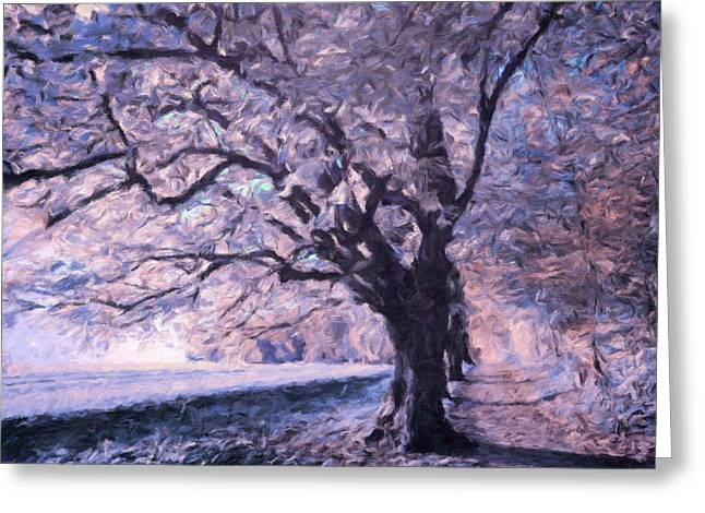Blossoms In Winter Greeting Card by Georgiana Romanovna
