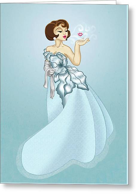 Blow A Kiss- Blue Version Greeting Card by Rachel Marquez
