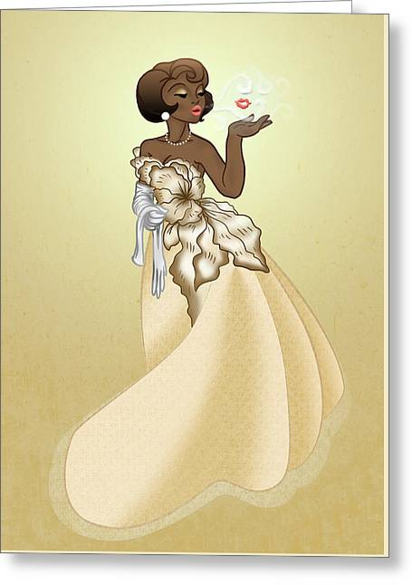 Blow A Kiss- Gold Version Greeting Card by Rachel Marquez