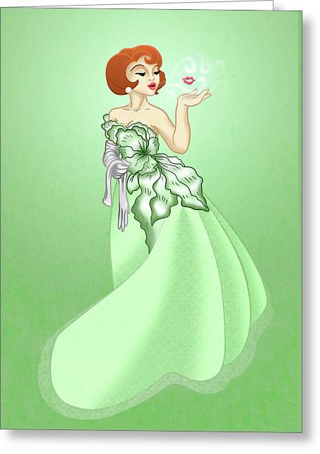 Blow A Kiss- Green Version Greeting Card by Rachel Marquez