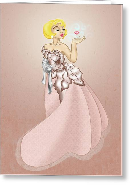 Blow A Kiss- Pink Version Greeting Card by Rachel Marquez