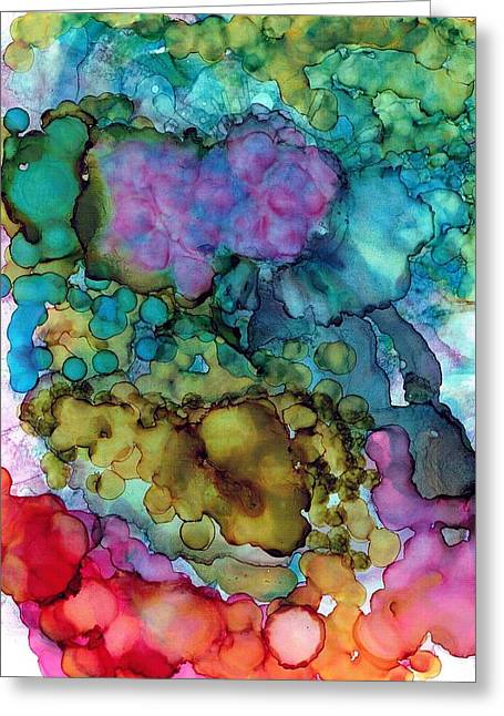 Alcohol Inks Greeting Cards - Blowing Bubbles Greeting Card by Christine Crawford