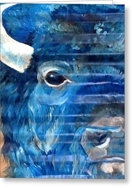 Blu Bison Greeting Card by Patty Sjolin