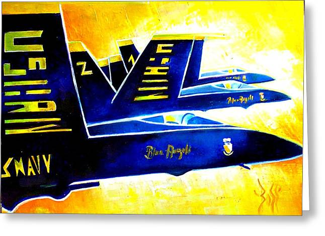 Blue   Angels  Greeting Card by Arts  Boss