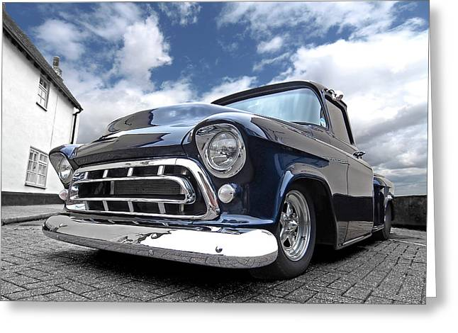 Blue 57 Stepside Chevy Greeting Card